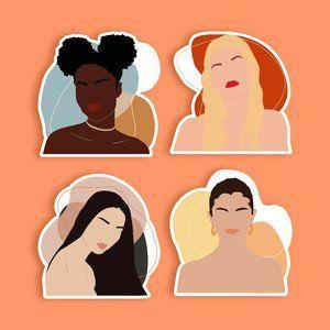4 Boho Girls Stickers GLOSSY